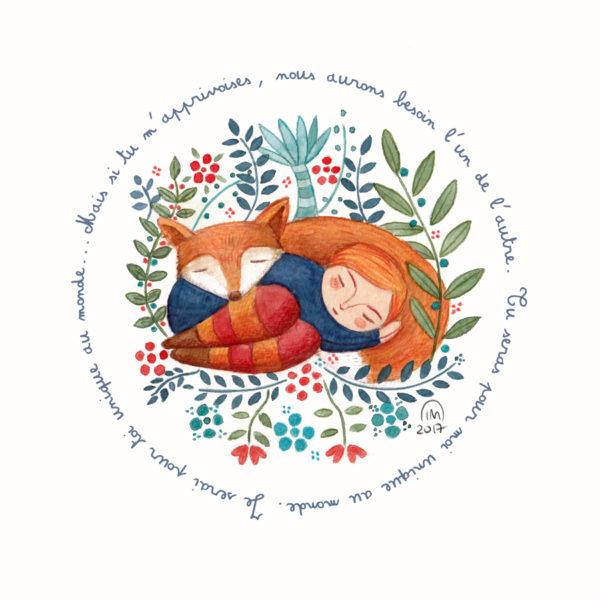 """Citation illustrée Petit Prince affiche """"Mais si tu m'apprivoises, nous aurons besoin l'un de l'autre..."""""""