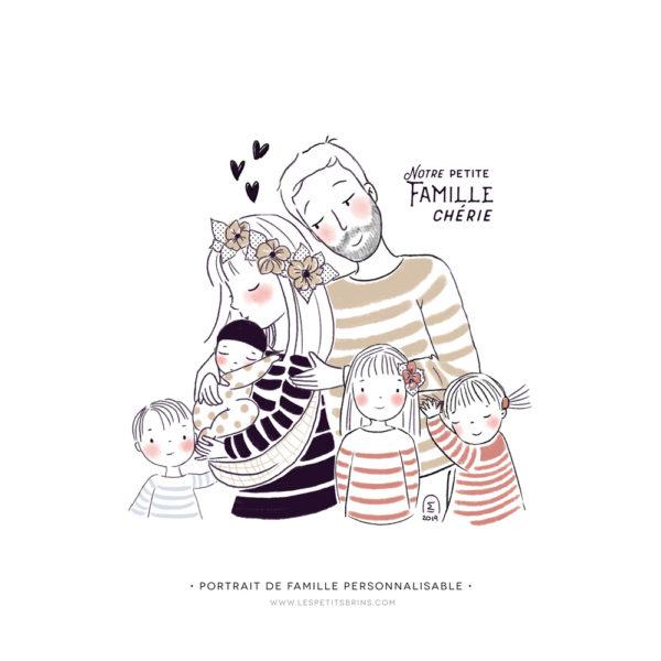 Illustration famille heureuse portrait semi-personnalisable à personnaliser