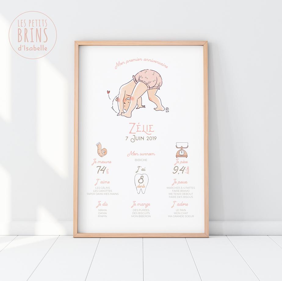 Affiche personnalisable mon premier anniversaire - 1 an