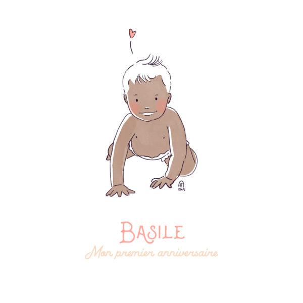 Illustration bébé personnalisation 4 pattes - Peau claire