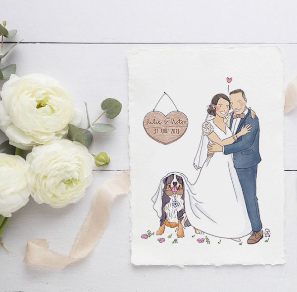 Illustration faire-part de mariage illustré original humour