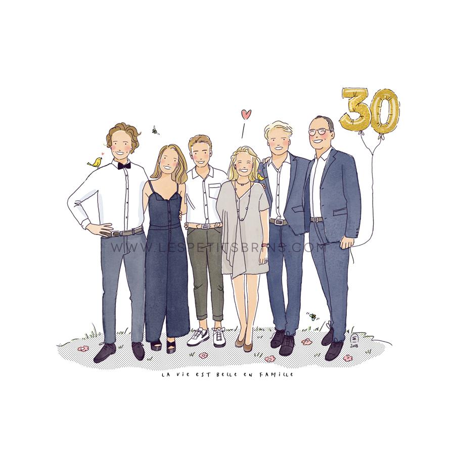 Portrait de famille illustré personnalisé pour un anniversaire de mariage.