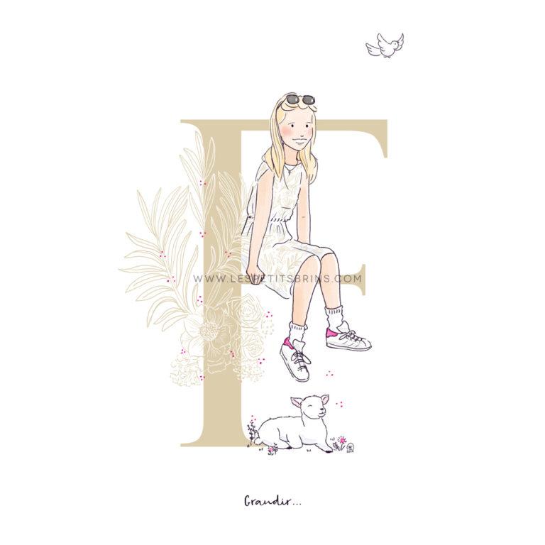 Portrait d'enfant illustré sur mesure - Cadeau de première communion - Illustration originale