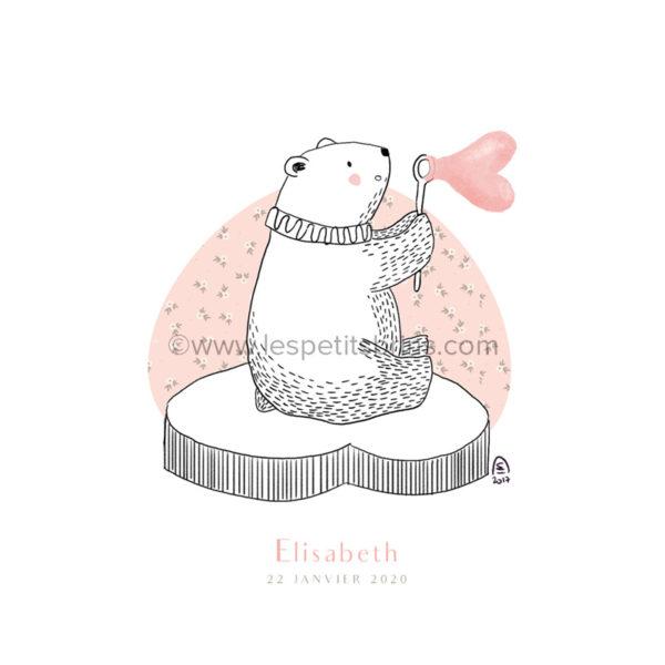 Affiche cadeau de naissance personnalisable ours polaire bulle