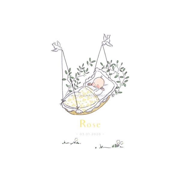 Affiche cadeau de naissance pour bébé à personnaliser. Déco originale, couffin oiseaux
