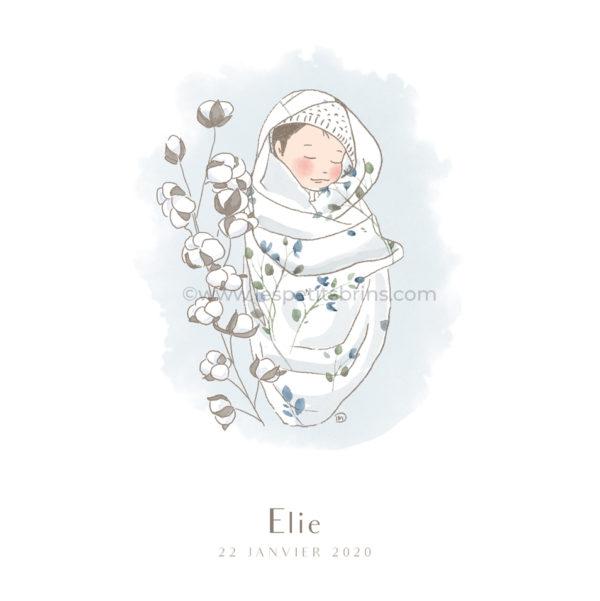 Affiche cadeau de naissance pour bébé à personnaliser. Déco originale, bébé dans son lange et coton