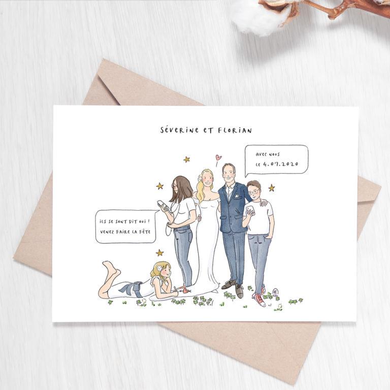 Faire-part de mariage illustré - Illustration personnalisée