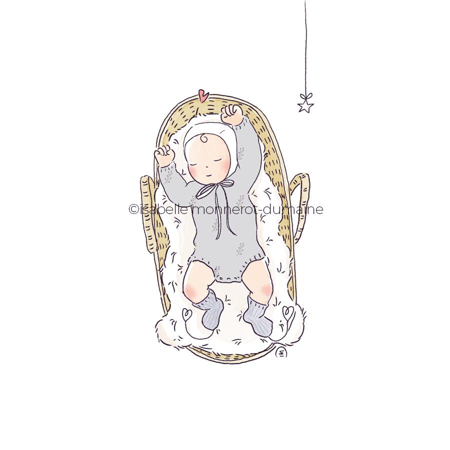 Faire-part de naissance bébé et son béguin dans son couffin en osier rotin sur le dos