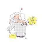 Illustration couple mimosa - Retour de l'amoureux, militaire
