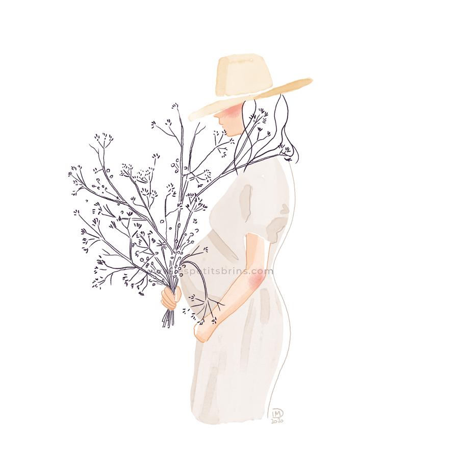 Illustration maternité femme enceinte grossesse bouquet séché