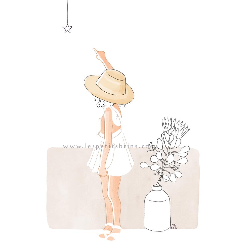 Illustration personnalisée portrait d'enfant avec son chapeau - Regarde l'étoile