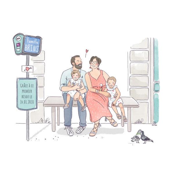 Illustration portrait de famille personnalisé - sur mesure - arrêt de bus