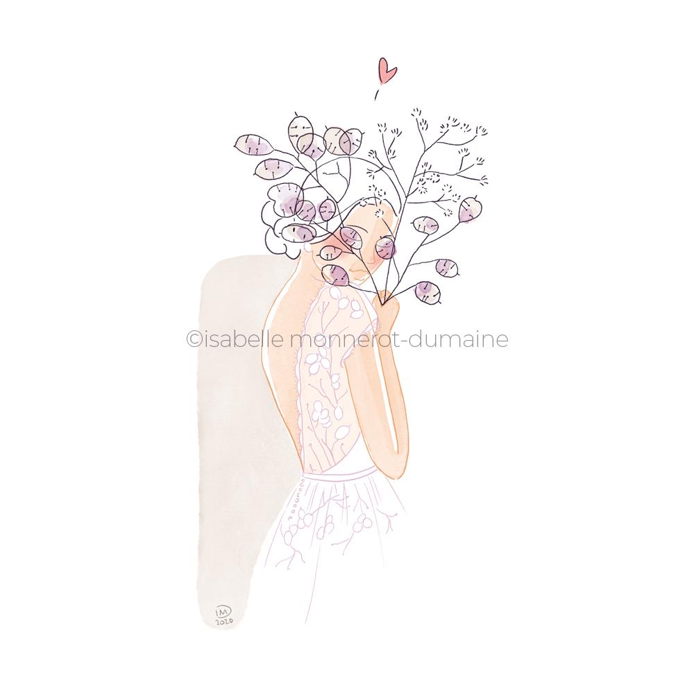 Illustration robe de mariée personnalisée - Monnaie du pape - faire part
