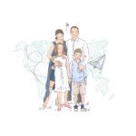 Portrait de famille illustré personnalisé - Personnalisation - Illustration