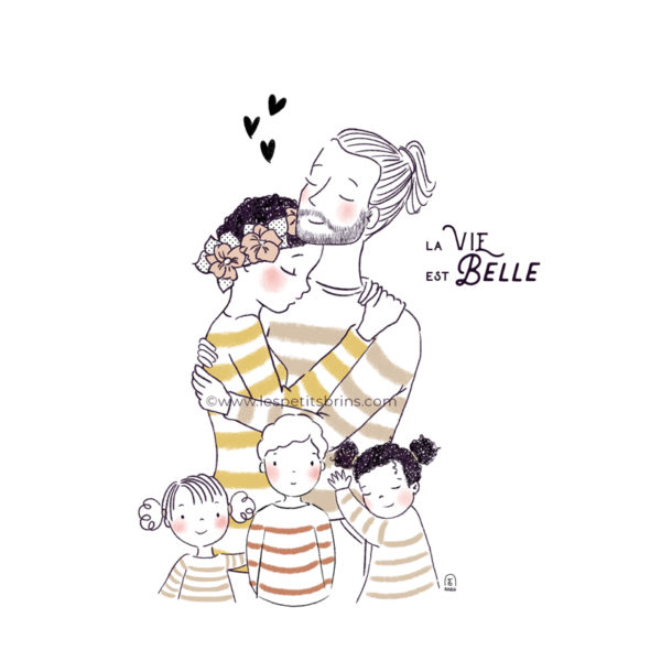 Portrait de famille illustré personnalisable