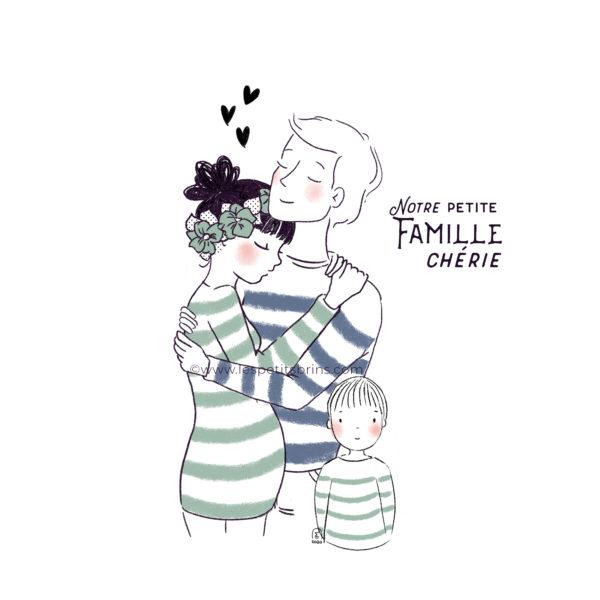 Illustration portrait de famille personnalisable, maman enceinte. Avec Papa et un enfant.