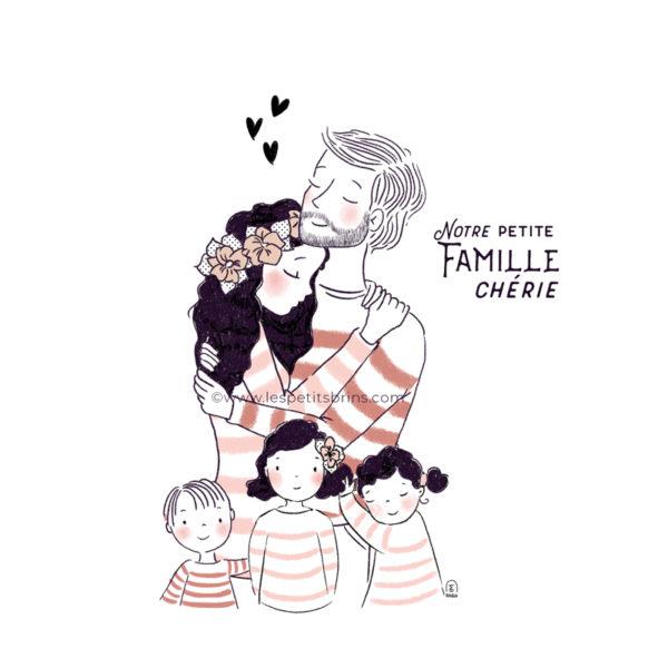 Portrait de famille à personnaliser. Illustration personnalisable.