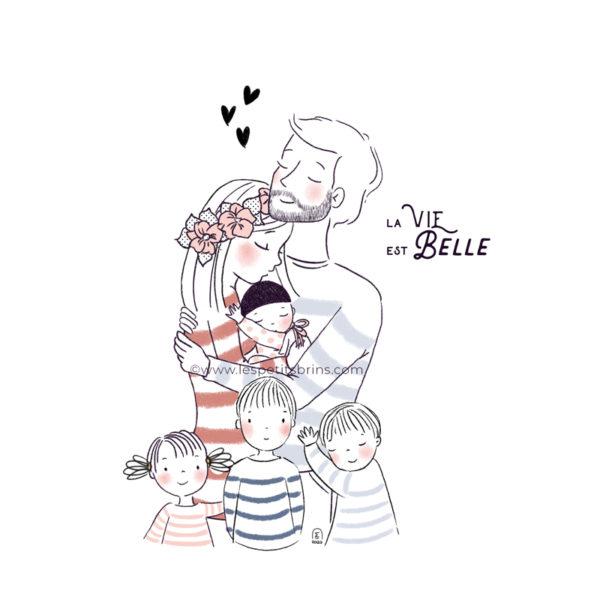 Portrait de famille illustré à personnaliser. Personnalisation avec 4 enfants dont un bébé.