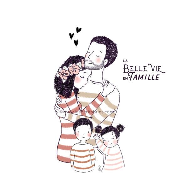 Portrait de famille illustré à personnaliser, couleurs et cheveux