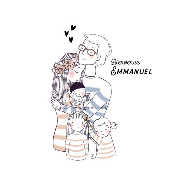 Portrait de famille personnalisable. Illustration pour la naissance d'un bébé et enfants.